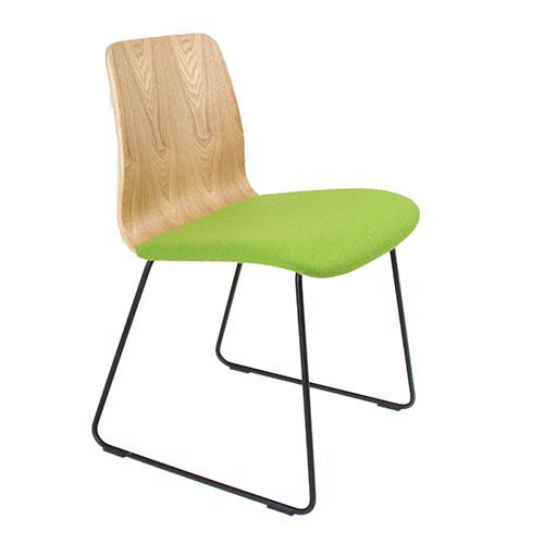 Natural Ash Veneer, Black Skid Frame, Upholstered Seat (BLDN1)