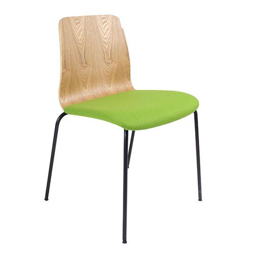 Natural Ash Veneer, Black 4 Leg Frame, Upholstered Seat (BLDN2)