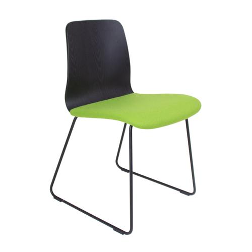 Black Ash Veneer, Black Skid Frame, Upholstered Seat (BLDB1)
