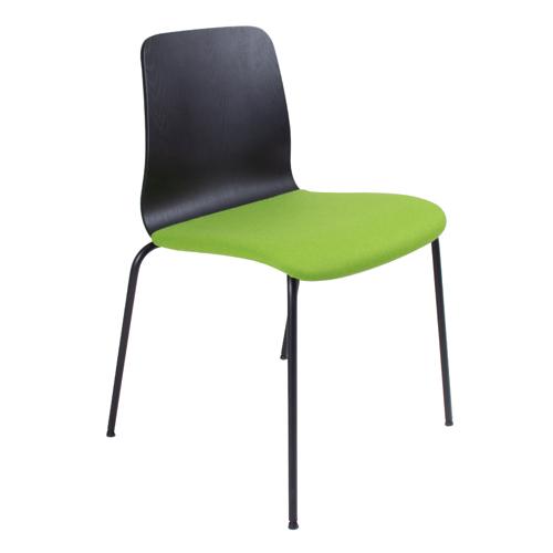 Black Ash Veneer, Black 4 Leg Frame, Upholstered Seat (BLDB2)