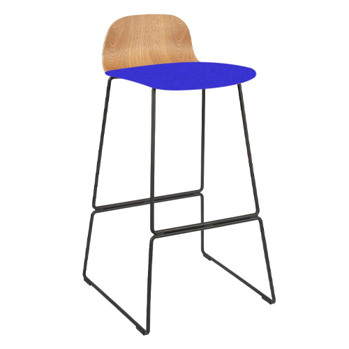 Natural Ash Veneer, Black Skid Frame, Upholstered Seat (BLDN3)