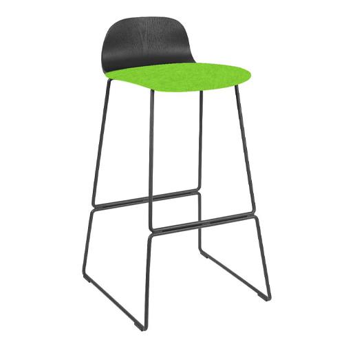 Black Ash Veneer, Black Skid Frame, Upholstered Seat (BLDB3)